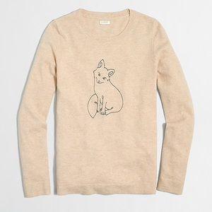 J. Crew Embroidered Fox Teddie Sweater Size M